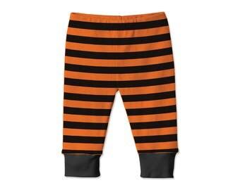 Baby Halloween Pants Black and Orange, Baby Boy Halloween Leggings, Baby Girl Halloween Leggings, Black Orange Stripes, Tesababe 14OBBK
