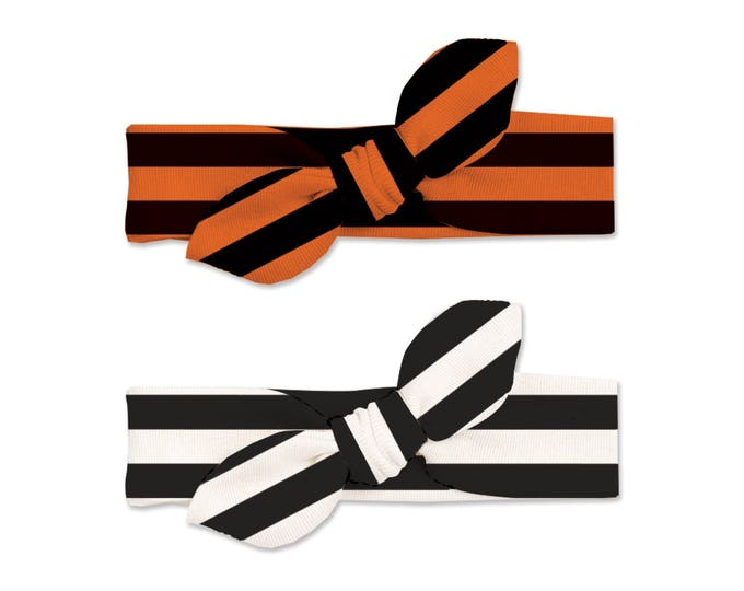 Baby Halloween Headband Set Black White Orange, Baby Girl Halloween Headband Set Black Orange Stripes, Bow Headwrap, Tesababe