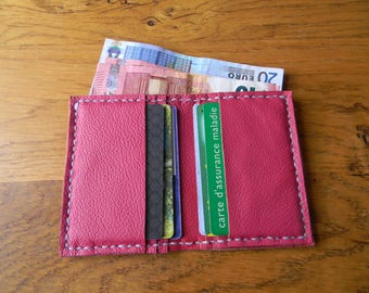 Hand made pink leather card holder