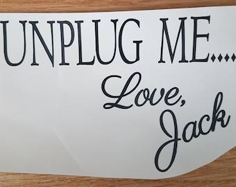 Unplug Me... Love Jack Decal For Slow Cooker Crock Pot