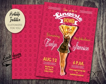 Lingerie Bridal Shower Classic Pinup Party Invitation