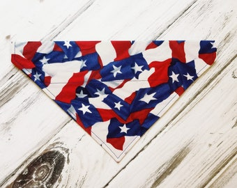 SALE Size Medium Ready to Ship American Flag Dog Bandana, Dog Scarf, no tie bandana, slip on bandana, pet bandana, doggy scarf