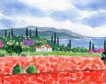 ACEO Original Watercolor Painting-Colorful Landscape Poppy Field/Spring/Red Flowers