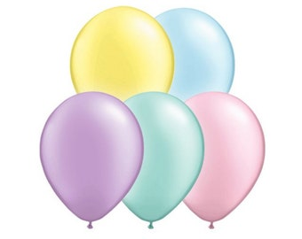 "11"", Pack of 5, Pastel Pearl Latex Balloons, Pastel Yellow, Pastel Green, Pastel Purple, Pastel Pink, Pastel Blue, Pearlized, Pearl Balloon"