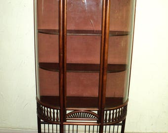 Small Antique Mahogany Stick And Ball Curved Glass Curio Cabinet