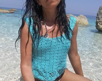 Boho top,Turquoise top, Crochet Crop top, Cotton top, Boho chic,Bohemian top tank,women top