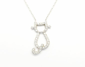 925 Sterling Silver Cat Pendant.White Cubic Zirconia Cat.