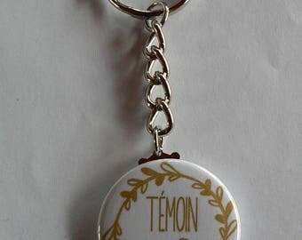 Cadeau Témoin de Mariage Badge Porte clés 38mm  Super Témoin Femme.