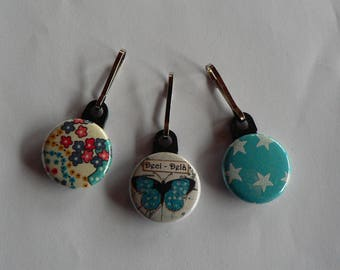 Badge set of 3 butterfly and Liberty zipper Strap Zip pull.