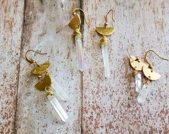 Crystal Earrings, Quartz Earrings, Minimal Earrings, Celestial Earrings, Raw Brass Earring, Crescent Earrings, Dangle Earrings, Boho Earring
