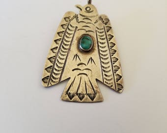 Vintage Sterling Silver and Turquoise Hand Stamped Thunderbird Pendant Native American Fob Charm Fred Harvey