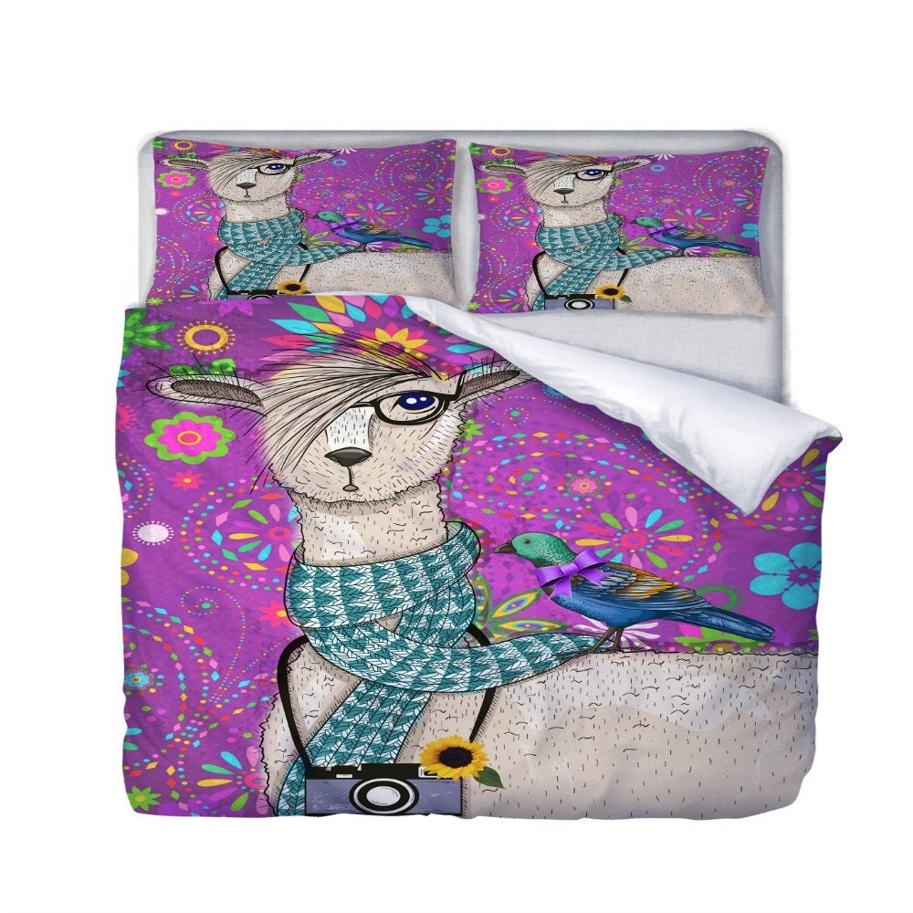 hipster llama bedding purple floral bird duvet cover or - 🔎zoom