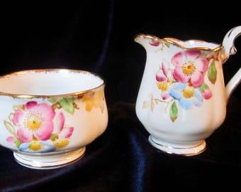 Royal Albert Japonica Bone China Mini Creamer and Open Sugar Bowl - 1940's - England