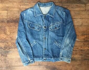 VTG Jean Jacket - Small Mens - Medium Womens - Denim Jacket - Vintage Clothing - Jeans - Vintage Denim - Workwear - Grunge - Black Magika -
