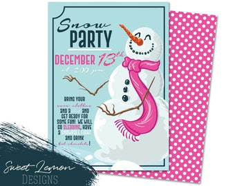 Snow Sledding Tubing Party Invitation Christmas Holiday Snowball