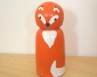 Wooden - Peg Doll Fox figurine