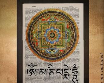 SUMMER SALE-Ends July 5- Buddhist Mandala Dictionary Art Print Buddhism Tibetan Zen Meditating Wall Art Home Decor Fine Tibet Meditation da4