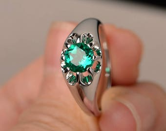 Round Cut Lab Emerald Ring Promise Ring Sterling Silver Ring Green Gemstone Ring Solitaire Ring May Birthstone