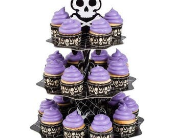 creepy skull halloween cupcake stand amazing fun and affordable cupcake holder for your ghoulish events - Halloween Cupcake Holder