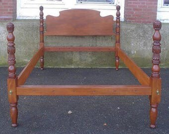Antique birch carved Vermont queen size rope bed