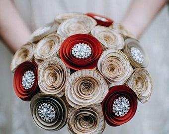 Paper Flower Bouquet - Wedding Bouquet Alternative - Bridal Bouquet - Glitter Paper Flowers - Victorian Bouquet - Rhinestones - Book Page