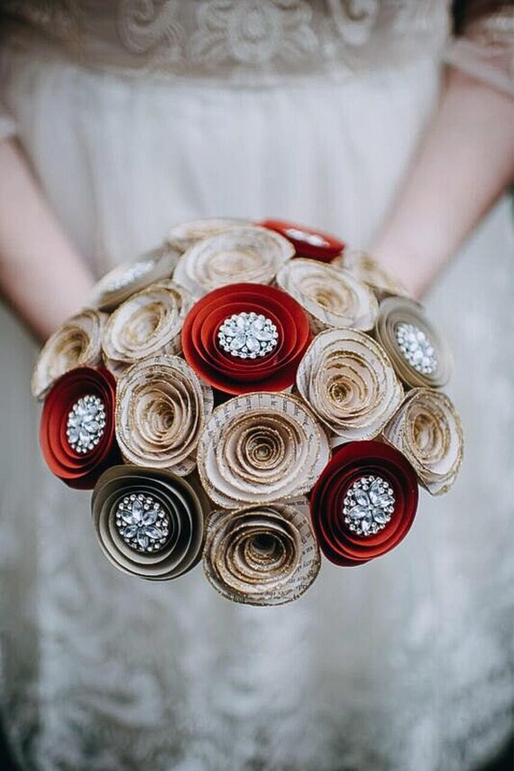Paper Flower Bouquet - Wedding Bouquet Alternative - Bridal Bouquet ...