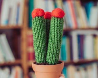 Three Flowering Knitted Cacti - Flowering Cactus, Knit Cactus, Crochet Cactus, Amigurumi, cactus toy, plush cactus, stuffed cactus