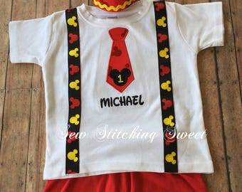 Mickey Mouse Birthday Shirt, Mickey Mouse Birthday Hat, Mickey Mouse Birthday outfit, Mickey Mouse, Minnie Mouse, First Birthday Outfit