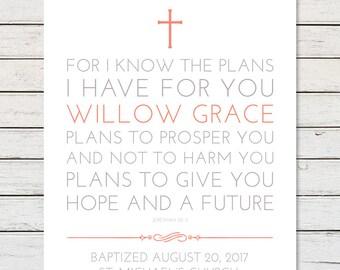 BAPTISM GIFT GIRL, Baptism Gift Boy, Baptism Gift, Baptism Scripture, Jeremiah 29:11, For I Know The Plans I Have For You, Baptism Keepsake