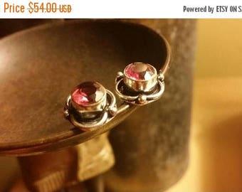 65%OFF SALE Red Quartz Earrings .925 Sterling Silver GemStone Stud Posts