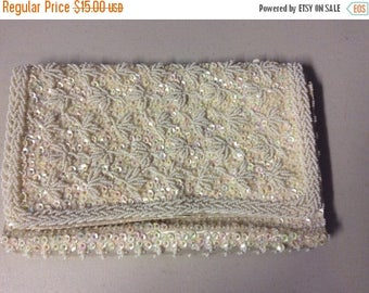Christmas in July Bon Soir Clutch Purse Ivory Beaded  Bridal or Evening Clutch Purse Vintage from the 1960's