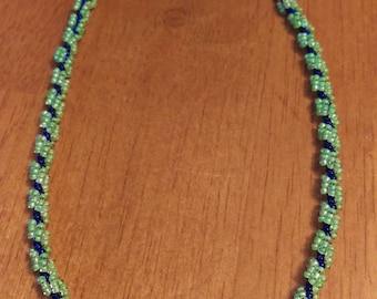 Spiral Weave Necklace - Green & Blue