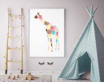 Giraffe hexagram Watercolor Painting - Art Print - Home Decor - Aquarelle illustration - Nursery Art - Animal Painting - Giraffe Art