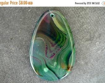20% SALE 55mm Agate Pendant, Druzy Geode Stone Pendant, 55x35x6mm Natural Stone, Purple, Green Stone Freeform Stone Pendant