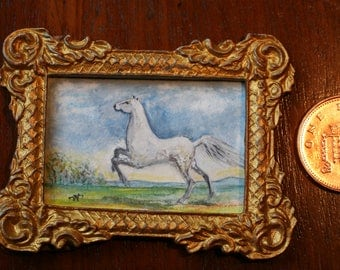 The Grey Pony - Hand-painted 'Dolls House' Miniature Painting.