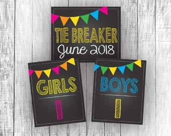 Tiebreaker Pregnancy Announcement Signs, Tie Breaker, June 2018, Chalkboard, Third Baby Reveal, Printable, Instant Download, Girls, Boys