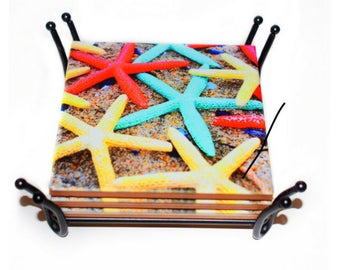 Valentines Day Gift for Her / Starfish Beach Coasters / NO stickers / Ceramic Tile Coaster Cork Backing / Beach Gift