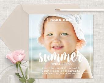 Summer Marketing Template - Summer Mini Session Template, Summer Marketing Board, Photographer Marketing, Instagram Marketing