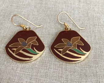 Laurel Burch Lotus Flower Dangle Earrings
