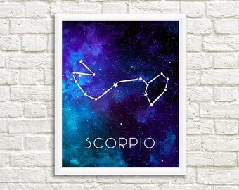 Scorpio Constellation, Zodiac, Sign, Stars, Galaxy, Space, Outer Space, Horoscope, Watercolor, Print - Digital File Only