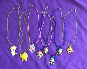 8 Bubble Guppies PVC Kids Necklaces or Keychains, Party Favors