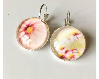 summer earrings * flowers, daisy * cabochon earrings * summer jewelry