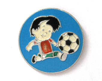 SALE, Football, Sport, Soviet badge, Boy, Vintage collectible badge, Soviet Vintage Pin, USSR, 1980s