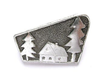 House in forest, Brooch, Badge, Vintage collectible badge, Pine Tree, Pin, Russia, Soviet Union, Made in USSR, 1980s