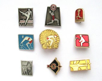 Sports, Pick from Set, Soviet Badge, Kinds of sport, Summer, Weightlifting, Cycling, Vintage metal collectible pins, Made in USSR, 1980s