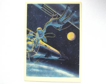 Rendezvous of spacecrafts, Cosmonauts, Space, Unused Postcard, Illustration, Unsigned, Rare Soviet Vintage Postcard, USSR, 1966, 1960s