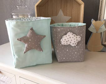 Pair of baskets, fabric Minth padded and lined in gray and white fabric with stars