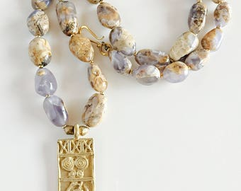 Africa Inspired Long Genuine Chalcedony and Brass Pendant Necklace