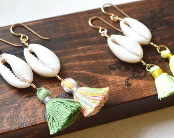 Tassel Earrings, Cowrie Shell Earrings, Tassel Shell Earrings, Tassel Earrings Gold