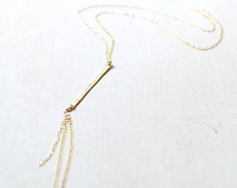 Vertical Bar Necklace, Gold Bar Chain Necklace, Long Gold Layering Necklace, Gold Bar Pendant